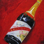 Brindando 2 oil on canvas 8''x10''