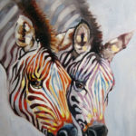 Cebras oleo sobre tela 18x24''