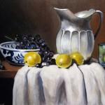 Limones y plata oleo sobre tela 18x24''