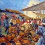 Mercado de ollas oleo sobre tela 14x18''