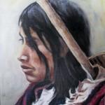 Mujer Nahuatl oleo sobre tela 10x8''