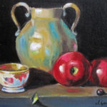Porcelana y manzanas Oil on canvas 8''x10''