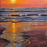 Sun set oil on canvas 8x6''